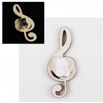 Temperamatite Cuore Chiave di Sol Violino Bianco Neonato Bebè con Biberon Nascita in legno Segnaposto Musica Temperino