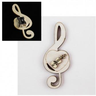 Temperamatite Cuore Chiave di Sol Violino in legno Musica Segnaposto Musica Temperino