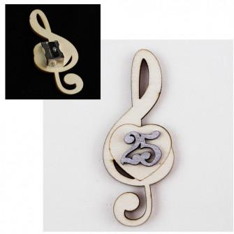 Temperamatite Cuore Chiave di Sol Violino Nozze 25 Anniversario in legno Musica Segnaposto Musica Temperino