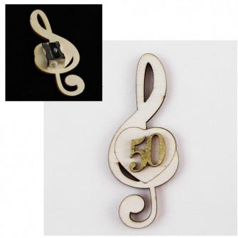 Temperamatite Cuore Chiave di Sol Violino Nozze 50 Anniversario in legno Musica Segnaposto Musica Temperino
