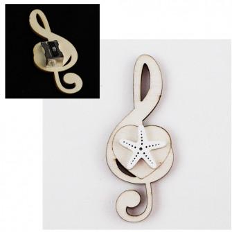 Temperamatite Cuore Chiave di Sol Violino Stella Marina Mare Bianca in legno Musica Segnaposto Musica Temperino