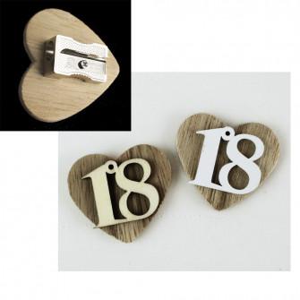 Temperamatite Cuore in legno 18 Diciottesimo Compleanno Confettata Segnaposto Temperino