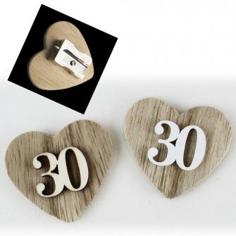 Temperamatite Cuore in legno 30 Trentesimo Compleanno Anniversario di Nozze Confettata Segnaposto Temperino