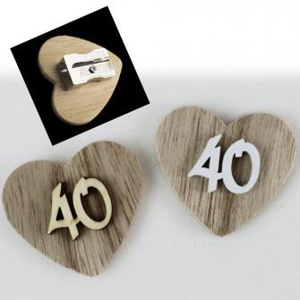 Temperamatite Cuore in legno 40 Quarantesimo Compleanno Anniversario di Nozze Confettata Segnaposto Temperino