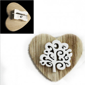 Temperamatite Cuore in legno Albero della Vita Confettata Segnaposto Temperino