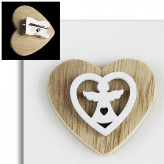 Temperamatite Cuore in legno Angelo Angioletto Confettata Segnaposto Temperino