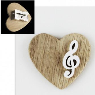 Temperamatite Cuore in legno Chiave di Violino Sol Musica Confettata Segnaposto Temperino