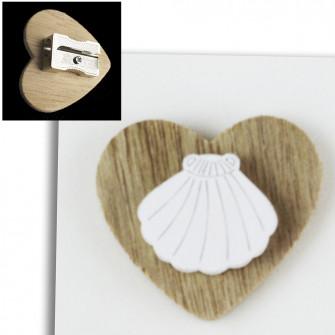 Temperamatite Cuore in legno Conchiglia Capasanta Cammino di Santiago Mare Confettata Segnaposto Temperino