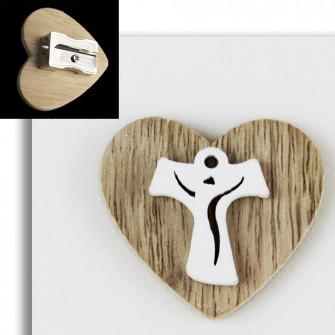 Temperamatite Cuore in legno Croce Tau Crocetta Confettata Segnaposto Temperino