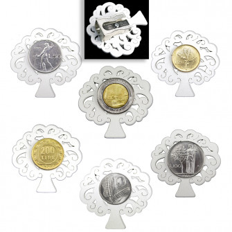 Temperamatite Temperino Albero della Vita in Legno con Moneta Lira Lire Repubblica Italiana 1946-2001 Pre-euro Monete d'Epoca