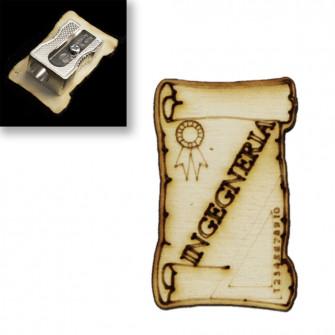 Temperamatite Temperino Pergamena in legno Laurea in Ingegneria Ingegnere Confettata
